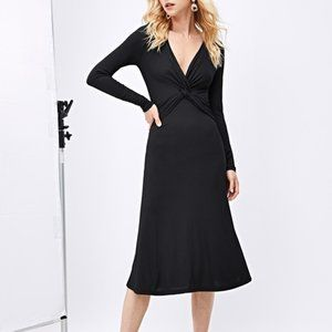Plunging Neck Twist Front Solid Dress XS